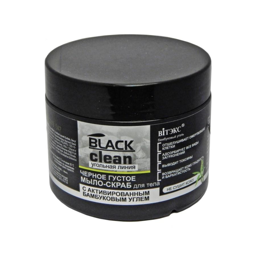 Belita čierne husté mydlo - peeling na telo s aktívnym uhlím, 300 ml